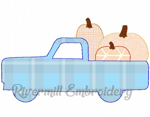 Raggy Applique Truck w/ Pumpkins Machine Embroidery Design