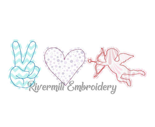 Raggy Applique Peace Love Cupid Machine Embroidery Design