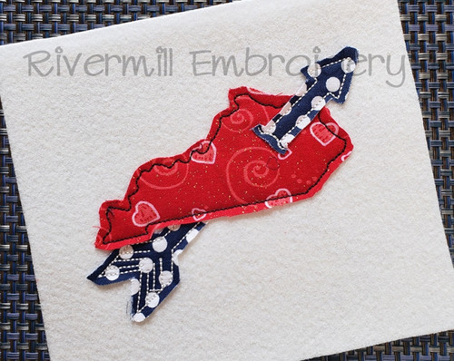 Raggy Applique Kentucky With An Arrow Machine Embroidery Design