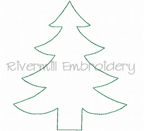 Raggy Applique Christmas Tree Machine Embroidery Design
