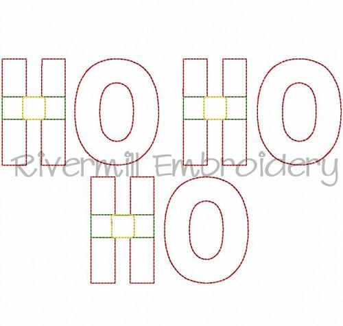 Raggy Applique Ho Ho Ho w/ Belt Machine Embroidery Design