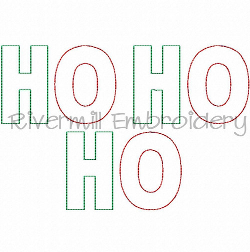 Raggy Applique Ho Ho Ho Machine Embroidery Design