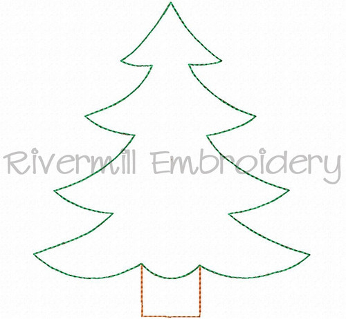 Raggy Applique Christmas Tree Version 2 Machine Embroidery Design