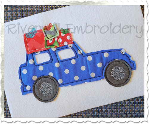 Raggy Applique Car w/ Christmas Presents On Top Machine Embroidery Design