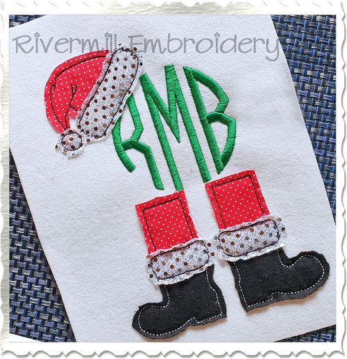 Santa Hat & Boots Monogram Frame Raggy Applique Machine Embroidery Design