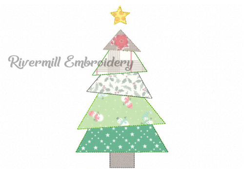 Raggy Applique Patchwork Christmas Tree Machine Embroidery Design