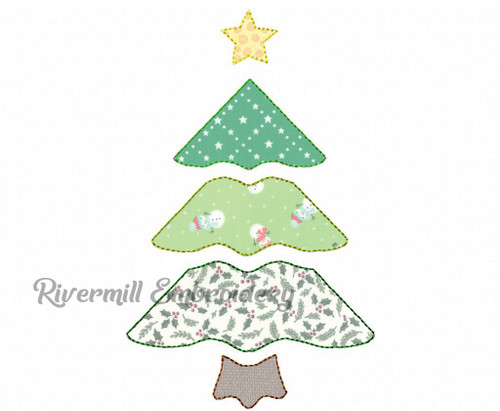 Raggy Applique Patchwork Christmas Tree Machine Embroidery Design #2