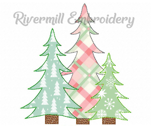 Raggy Applique Trio of Trees Machine Embroidery Design