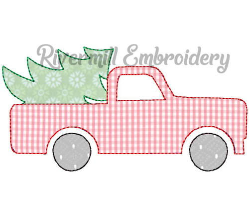 Raggy Applique Truck w/ Christmas Tree (#2) Machine Embroidery Design