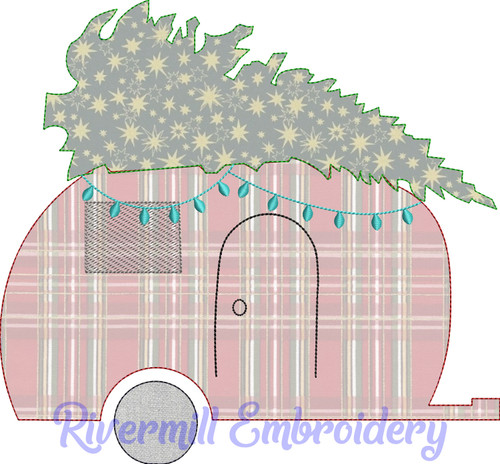 Raggy Applique Retro Camper w/ Christmas Tree Machine Embroidery Design