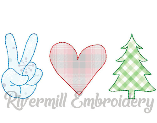 Raggy Applique Peace Love Christmas Machine Embroidery Design