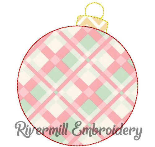 Raggy Applique Christmas Ornament Machine Embroidery Design