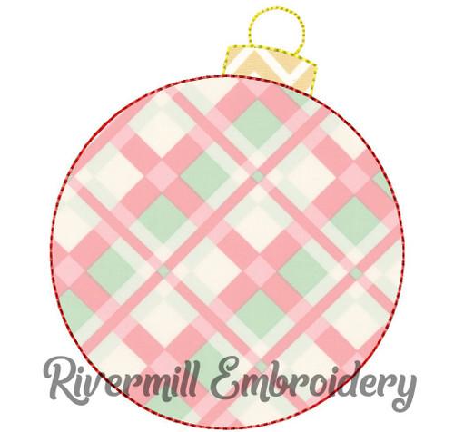 Raggy Applique Christmas Ornament Machine Embroidery Design