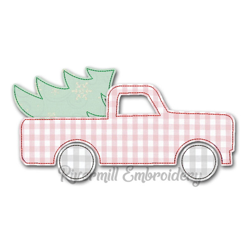 Large Raggy Applique Truck w/ Christmas Tree (#2) Machine Embroidery Design