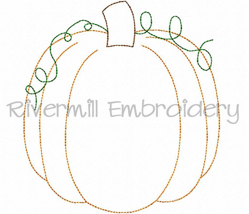Raggy Applique Pumpkin Machine Embroidery Design