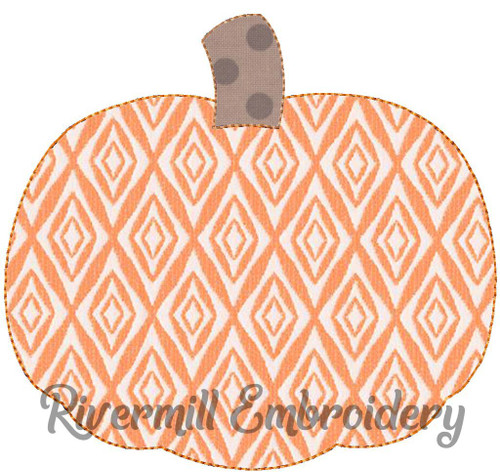Raggy Applique Pumpkin Machine Embroidery Design (Style 2)