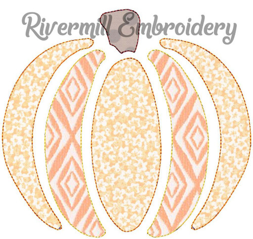Raggy Applique Pumpkin Machine Embroidery Design (Style 3)