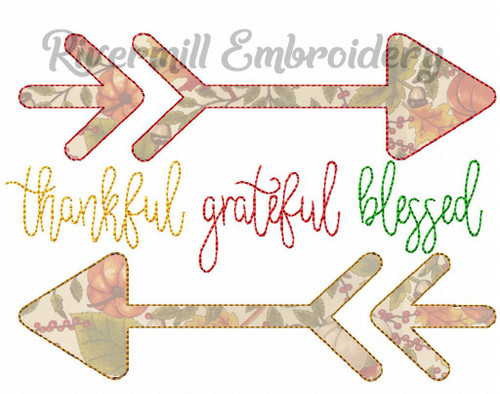 Raggy Applique Thankful Grateful Blessed Machine Embroidery Design
