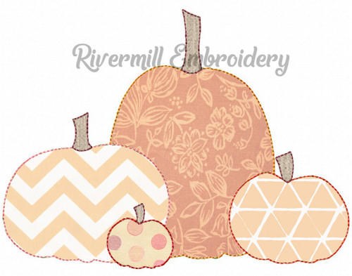 Raggy Applique Group of 4 Pumpkins Machine Embroidery Design