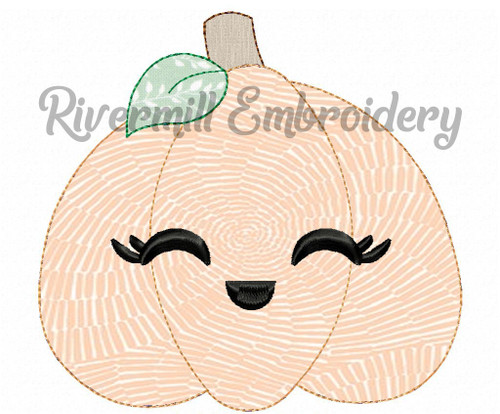 Raggy Applique Smiling Pumpkin Machine Embroidery Design