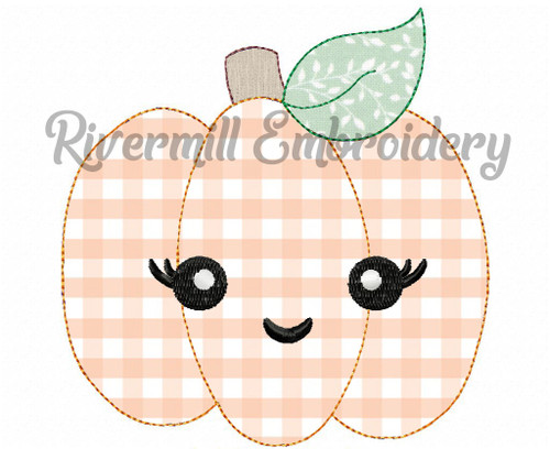 Raggy Applique Smiling Pumpkin Machine Embroidery Design (Style 2)