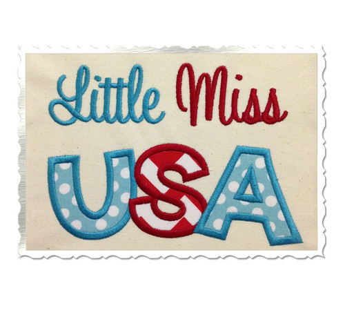Applique Little Miss USA Machine Embroidery Design