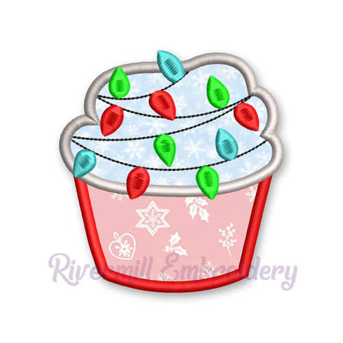 Cupcake With Christmas Lights Applique Machine Embroidery Design