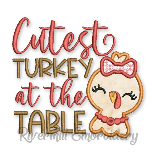 The Cutest Turkey At The Table Thanksgiving Applique Machine Embroidery Design