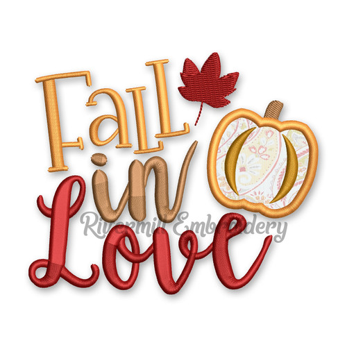 Fall In Love Applique Machine Embroidery Design