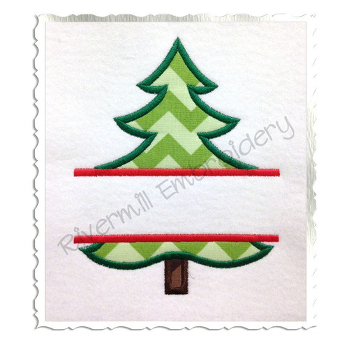 Split Applique Christmas Tree Machine Embroidery Design