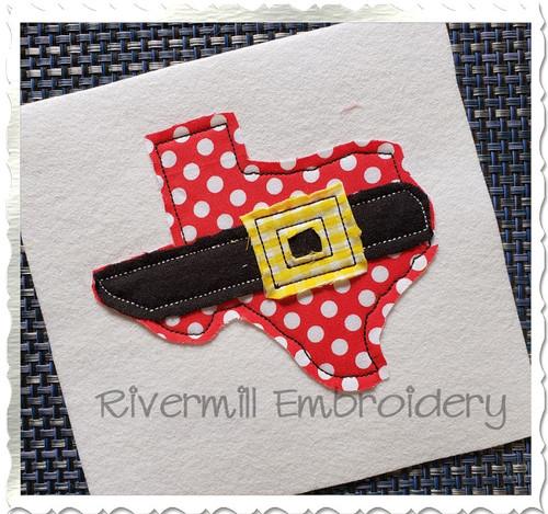 Texas w/ Santa Belt Raggy Applique Machine Embroidery Design