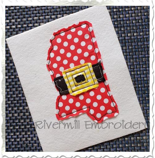 Mississippi w/ Santa Belt Raggy Applique Machine Embroidery Design