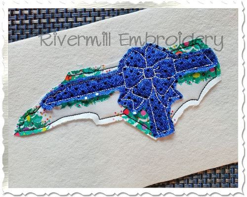 North Carolina With A Bow Raggy Applique Machine Embroidery Design
