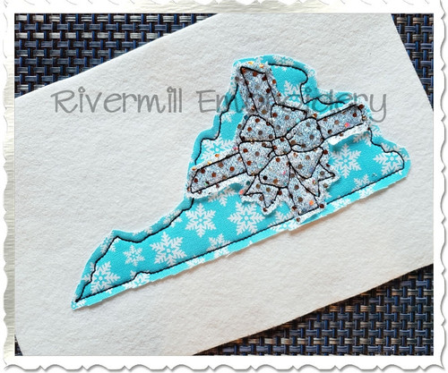 Virginia With A Bow Raggy Applique Machine Embroidery Design