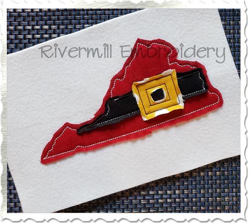 Virginia w/ Santa Belt Raggy Applique Machine Embroidery Design