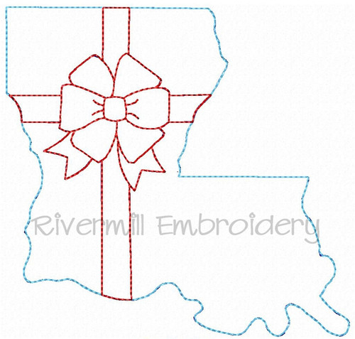 Louisiana With A Bow Raggy Applique Machine Embroidery Design
