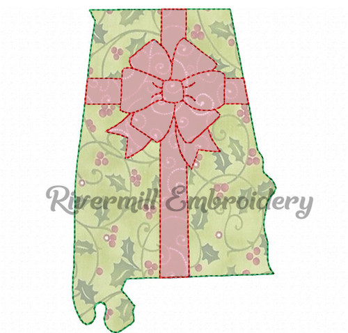 Alabama With A Bow Raggy Applique Machine Embroidery Design