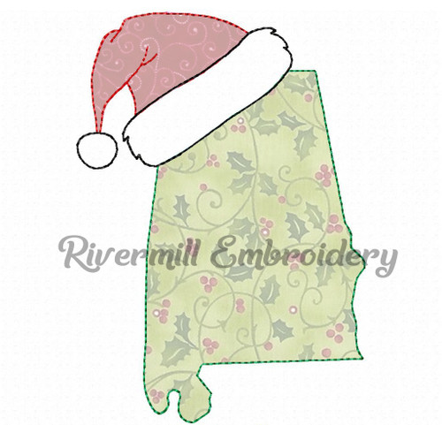 Alabama w/ Santa Hat Raggy Applique Machine Embroidery Design