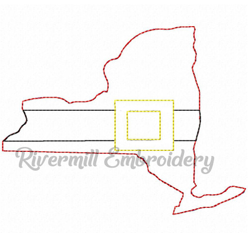 New York w/ Santa Belt Raggy Applique Machine Embroidery Design