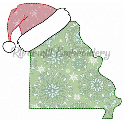Missouri w/ Santa Hat Raggy Applique Machine Embroidery Design