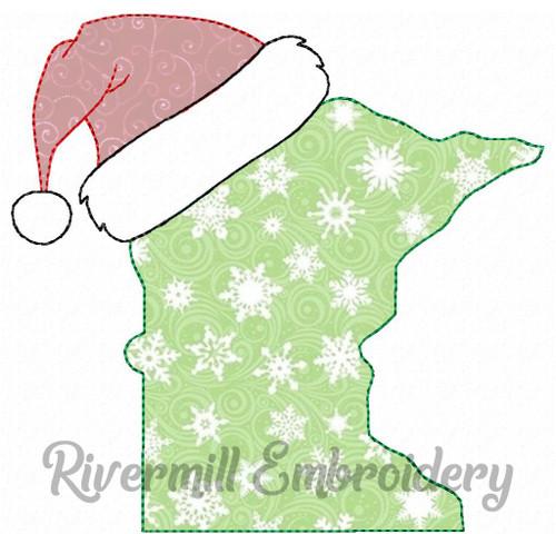 Minnesota w/ Santa Hat Raggy Applique Machine Embroidery Design