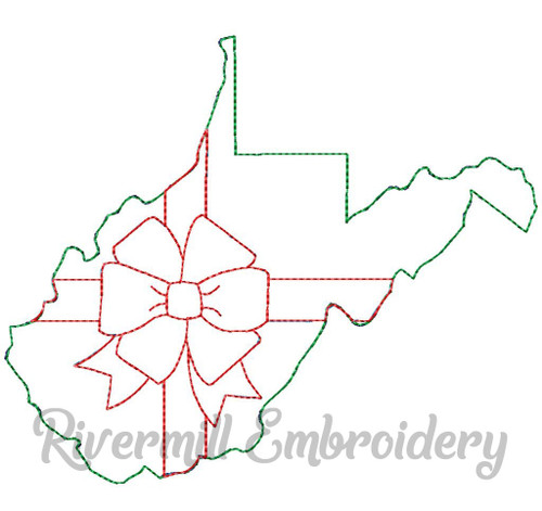 West Virginia With A Bow Raggy Applique Machine Embroidery Design