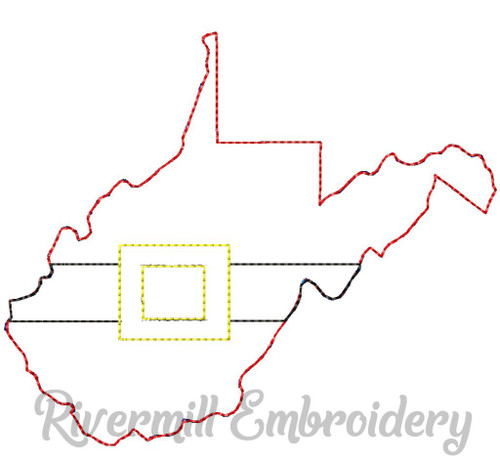 West Virginia w/ Santa Belt Raggy Applique Machine Embroidery Design