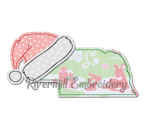 Nebraska w/ Santa Hat Raggy Applique Machine Embroidery Design