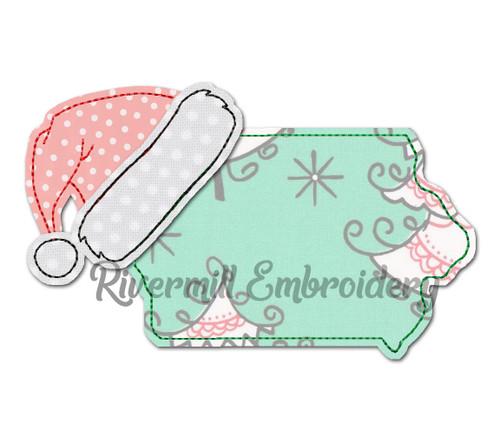 Iowa w/ Santa Hat Raggy Applique Machine Embroidery Design