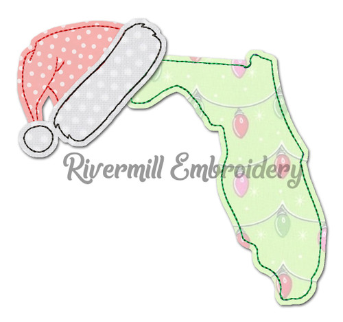 Florida w/ Santa Hat Raggy Applique Machine Embroidery Design