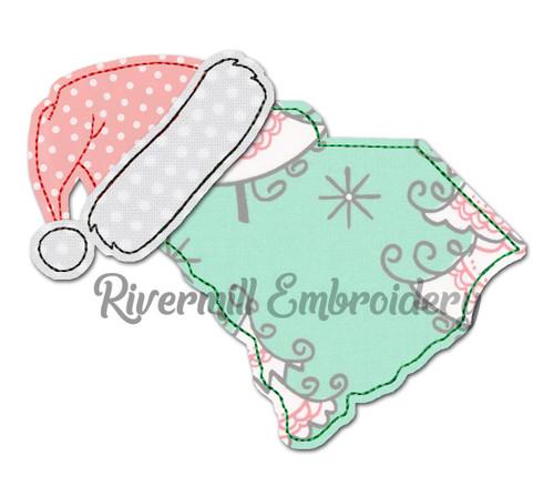 South Carolina w/ Santa Hat Raggy Applique Machine Embroidery Design
