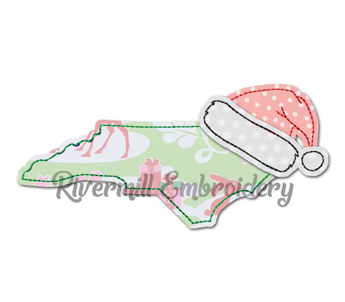 North Carolina w/ Santa Hat Raggy Applique Machine Embroidery Design