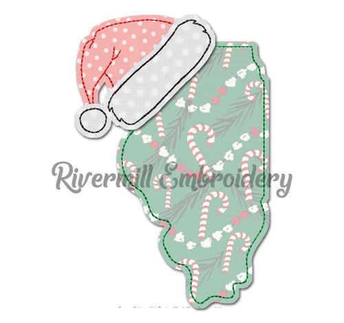 Illinois w/ Santa Hat Raggy Applique Machine Embroidery Design