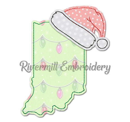 Indiana w/ Santa Hat Raggy Applique Machine Embroidery Design